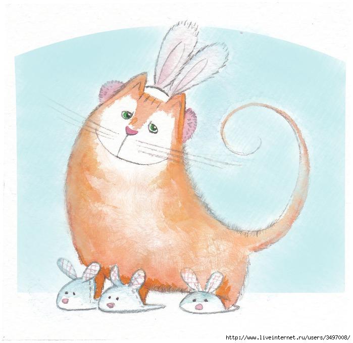 Учебниками картинка, открытки с котом и зайцем
