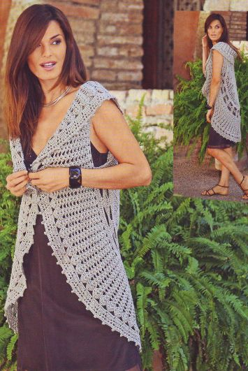 вязание на спицах женские ажурные безрукавки