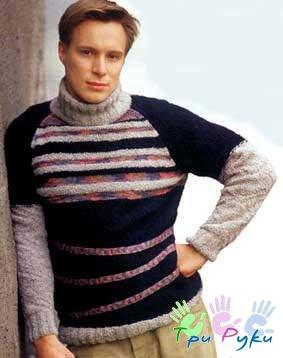 Мужские вязаные спицами свитера. норвежский свитер схемы.