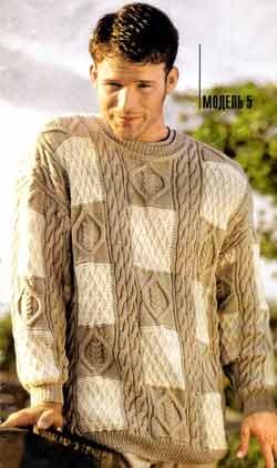 как связать мужской свитер спицами.  Lineapiu Puma.