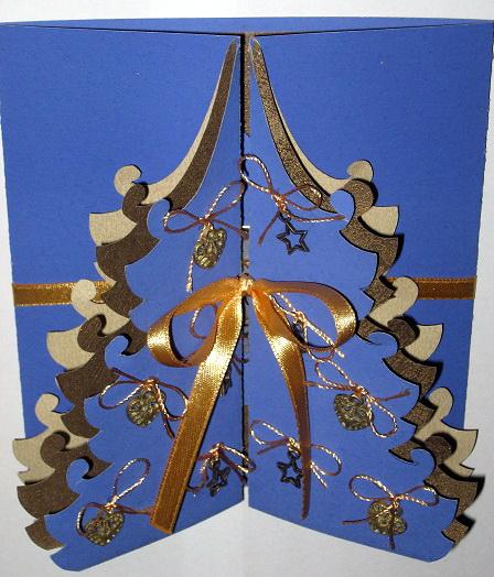 Коробочки, открытка елка раскладная