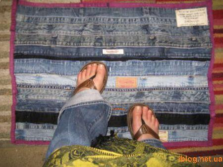 Идея вязаный коврик из джинсов.  Как связать вот такой коврик.