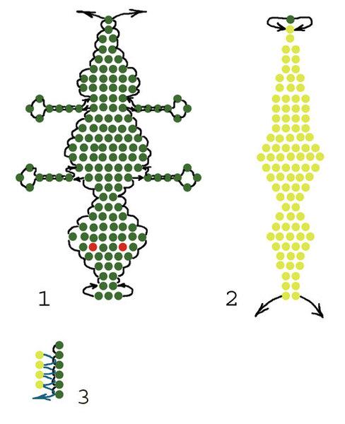 схема плетения из бисера крокодила.