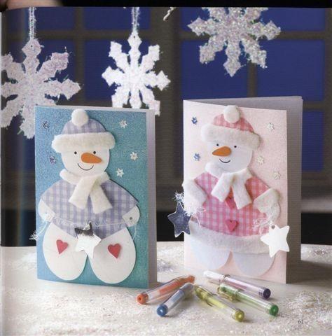 Изготовление открытки с фото снеговичок, для