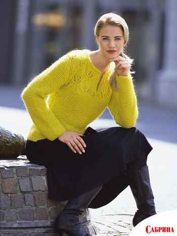 журнал Сабрина. бесплатно.  Пуловер с ажурной кокеткой.  Автор.