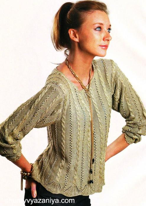 Пуловер узором из кос и мережек - модель с сайта http...