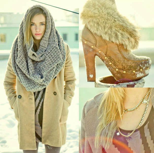 Еще один модный тренд - шарф-хомут.