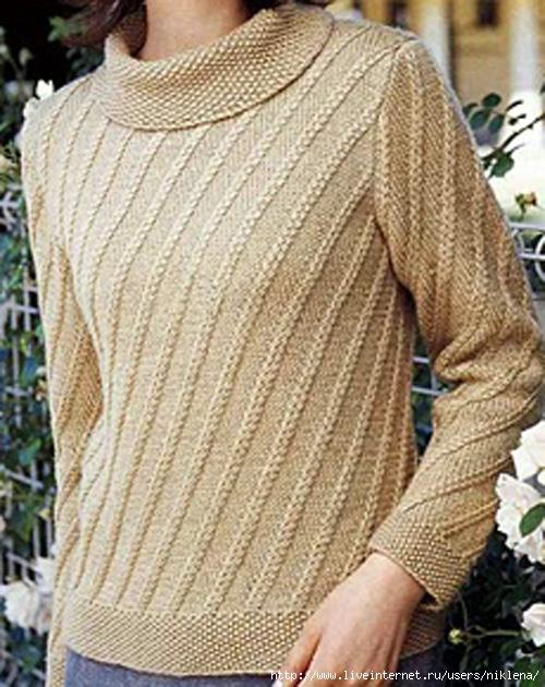Модель 15: Ажурный пуловер с косами и сеткой.