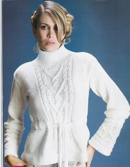 Вязаный свитер женский.  Схемы, узоры.