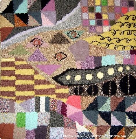 Вязание: Лоскутный коврик, связанный крючком Ткань.