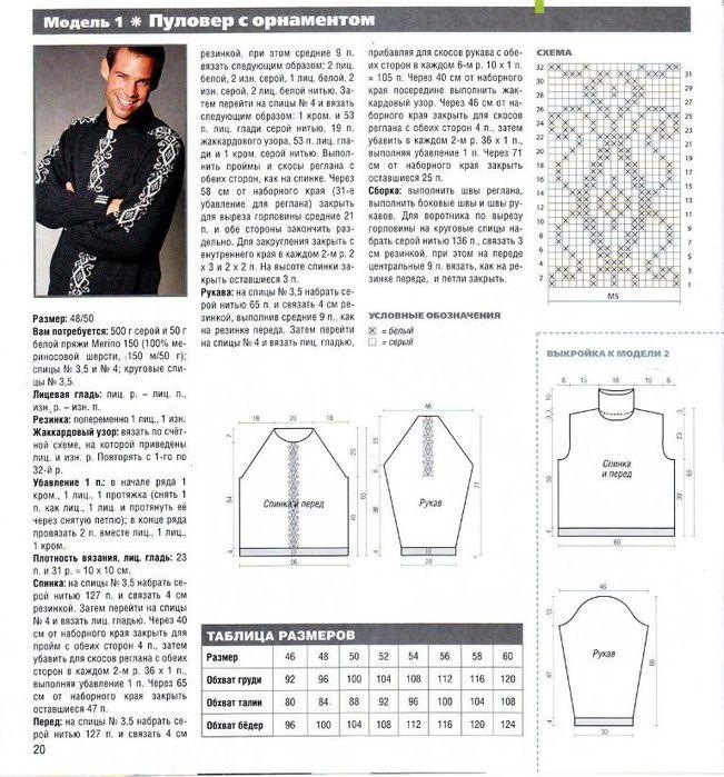 Полувер мужской схемы вязания.