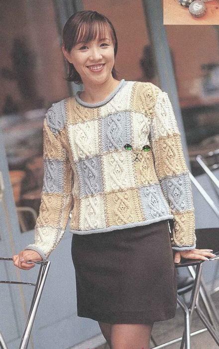 Мужской свитер с аранами из качественной итальянской пряжи.