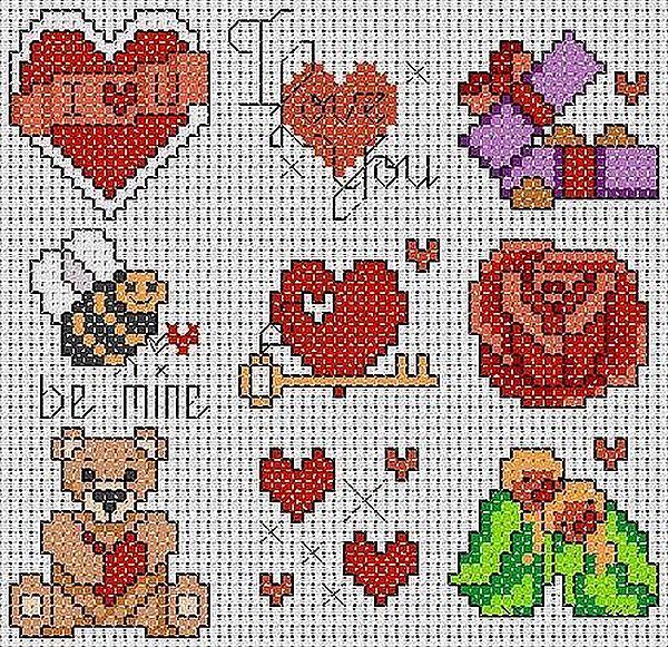 Схемы вышивки крестиком на открытки к 14 февраля, официальная февраля гифка
