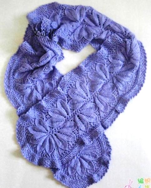 Рерый ажурный шарф. узоры вязания на спицах шарфа.