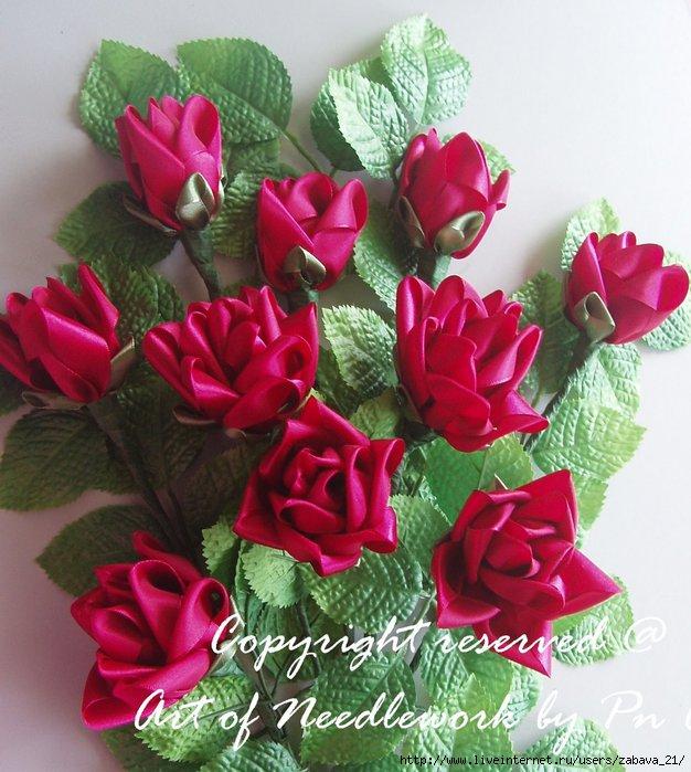 Розы из лент.  МК.  Еще один вариант розочек.  Цветы из ткани, кандзаси...