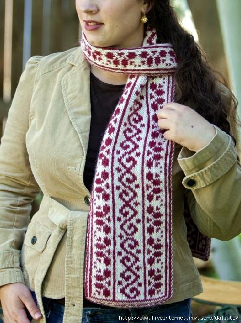 как связать модный шарф-хомут. схема.