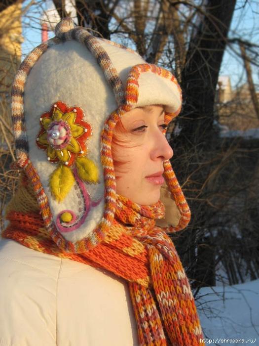 шапка hahdmade валяние шерсти расшивка бисером.