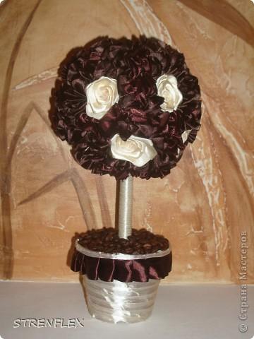 Бонсай, топиарий, Мастер-класс Торцевание, Шитьё: Ванильные розы в...