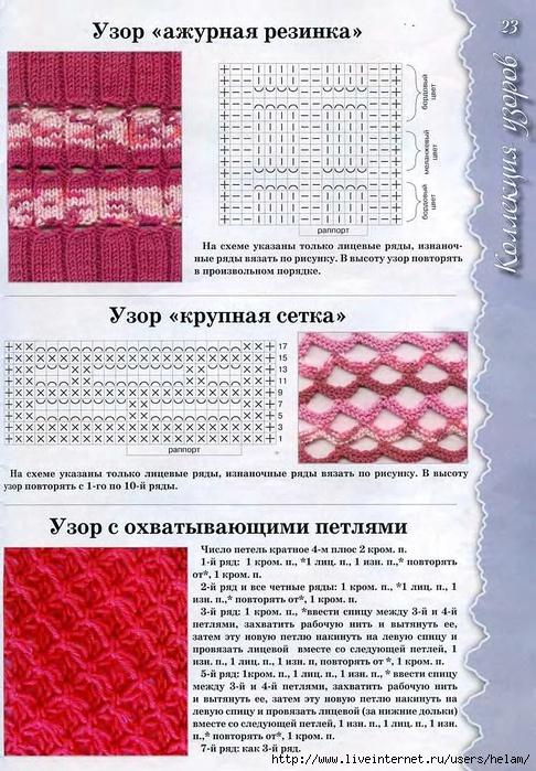 Вязание спицами двухцветные узоры.