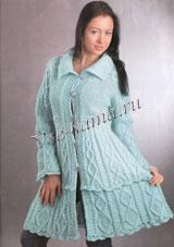 Весеннее вязаное пальто спицами со схемой. вязание.