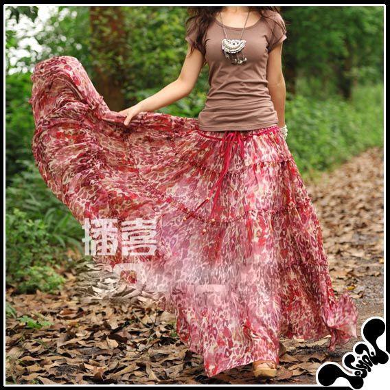 Очень красивая длинная шифоновая юбка.  Производство: Корея.