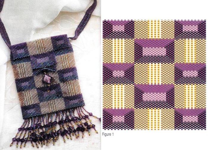 Схема плетиния сумки из бисера.