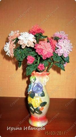 Мастер-класс Бисероплетение: Букет цветов Бисер.  Фото 1.