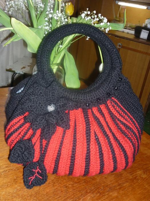 """Решила связать сумку по принципу сумки  """"Тучный мешок  """",схемы которой."""