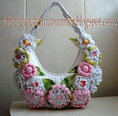Bolsa em croche com flores - original - by lila.