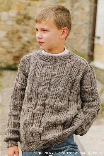 Возраст: 8-9 лет.  Однотонный свитер со жгутами и узором со снятыми...