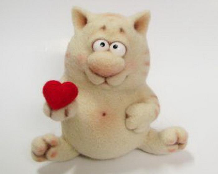 Счастья и любви!  Кошкокупидон. игрушки. валяние.