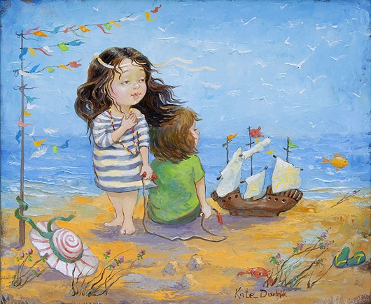 Две девочки с корабликом на берегу моря