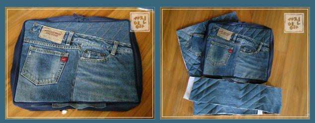 свой цитатник или сообщество!  Сумка-чемодан из старых джинсов .МК.