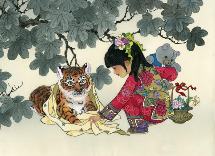 year of the tiger - girl - Peek-A-Boo (700x508, 136Kb)