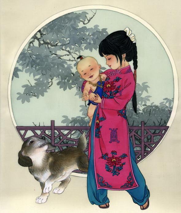 Своими, японские открытки с детьми