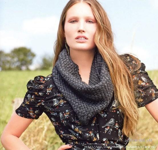 Вязаный шарф-хомут Вязание спицами.