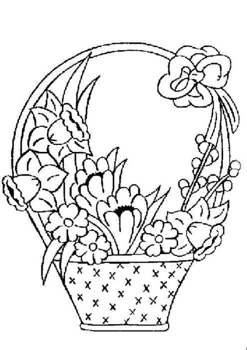 открытка корзина с цветами шаблон поделать