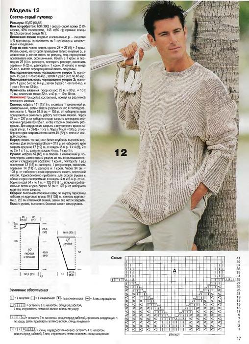 мужские свитера крючком схемы. вязание спицами свитера для мужчин.