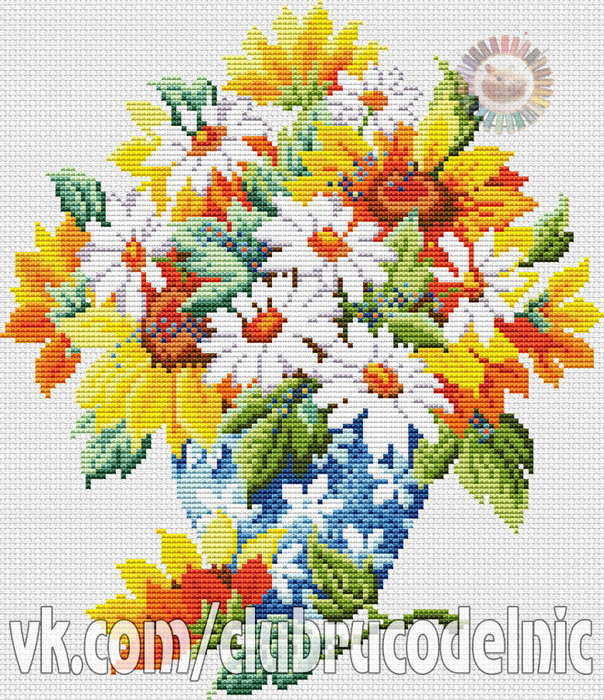 Vase of Sunflowers and Daisies (604x700, 661Kb)