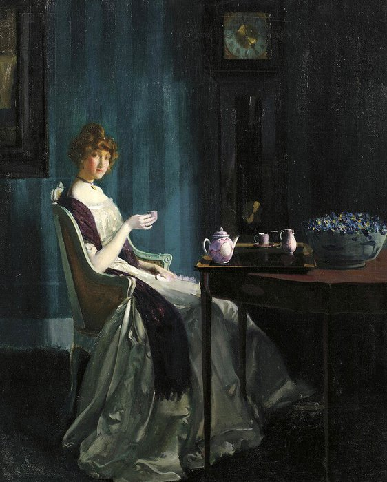 Charles Bittinger  (1879 - 1970American). Afternoon Tea (562x700, 86Kb)