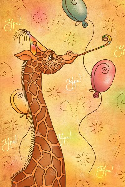 Почтовая открытка жираф, открытка днем