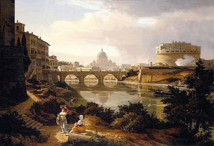 Rome,_a_view_of_the_river_Tiber_looking_south_with_the_Castel_Sant'Angelo_and_Saint_Peter's_Basilica_beyond_by_Rudolf_Wiegmann_1834 (700x478, 128Kb)
