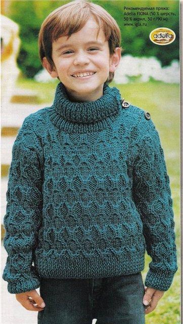 Вязание спицами бирюзового свитера для мальчика 3 года Для вязания...