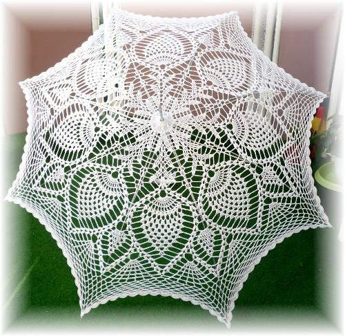Вязание крючком: Ажурный зонт Нитки Свадьба.  Фото.