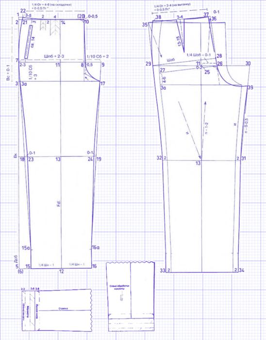 Выкройка женских брюк Обхват талии 89 см, Обхват бедер 116 см...