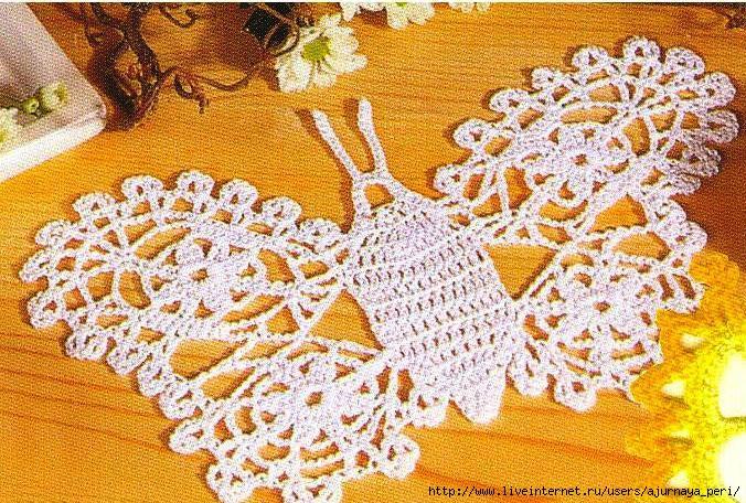 Салфетки спицами.  Вязание крючком бабочки схемы бесплатно.
