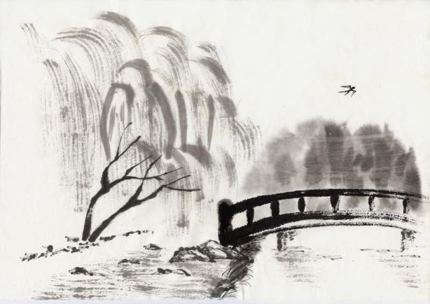 пейзаж японского сада рисунок акварель.