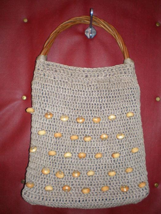 ООООООчень долго валялась заготовка для сумки, связанная их серого льна...
