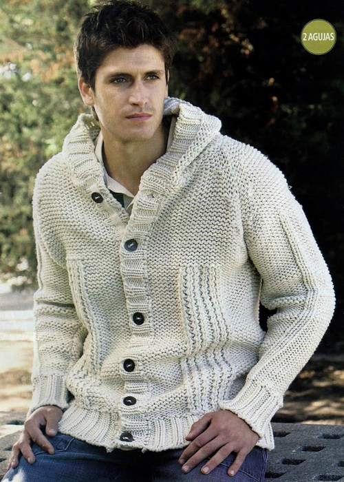 мужской вязаный пиджак.