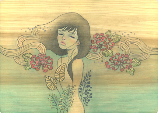Одри Кавасаки(Audrey Kawasaki).  Рисунки на деревянных досточках.